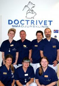 Vårt glada team på Doctrivet Smådjursklinik
